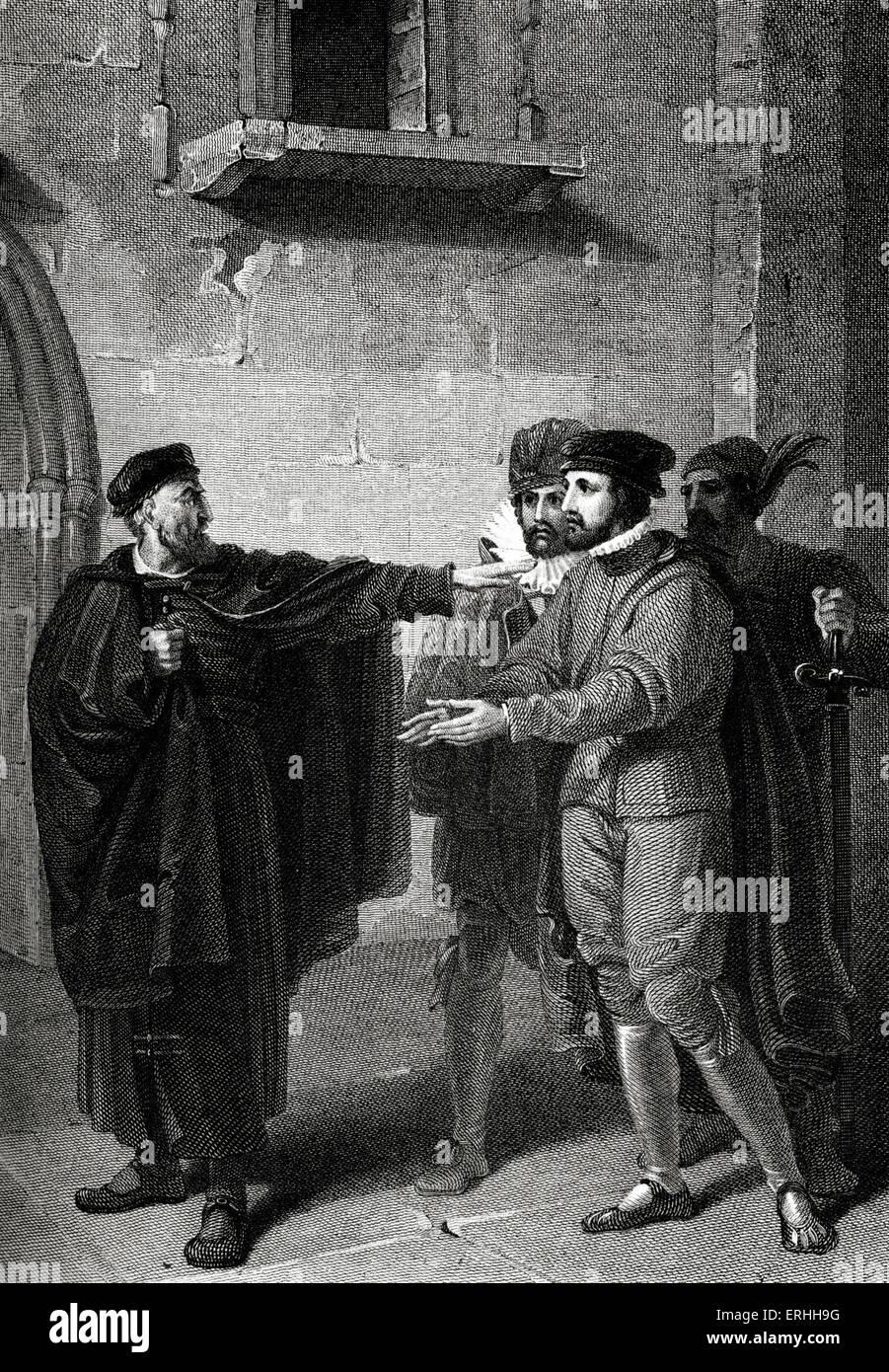 William Shakespeare 's play The Merchant of Venice  -  Act III Scene III: Shylock , Salarino , Antonio and Gaoler. - Stock Image
