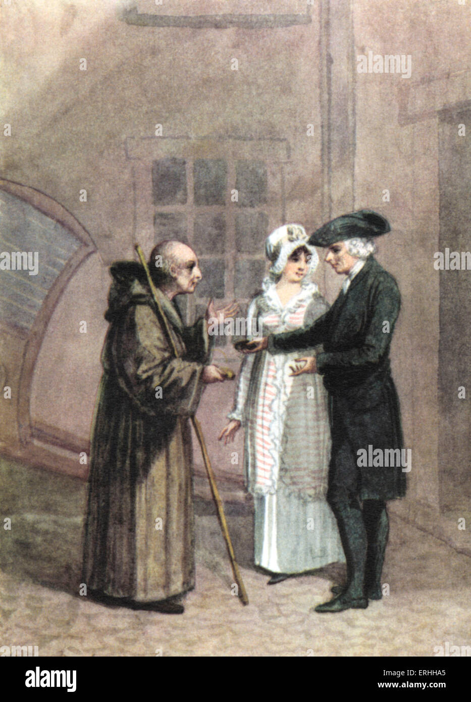 Laurence Sterne - 'Sentimental Journey' : Yorik , The Monk  and Madame L--- in the inn courtyard at Calais. - Stock Image