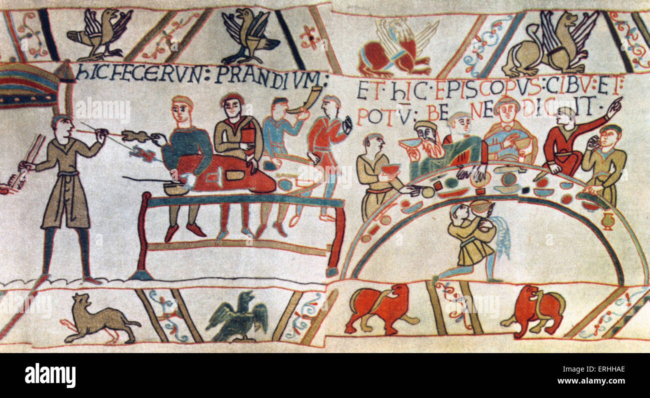 William the Conqueror and his men enjoy a feast. Detail from the Tapestry of Bayeux.  11th century - Stock Image