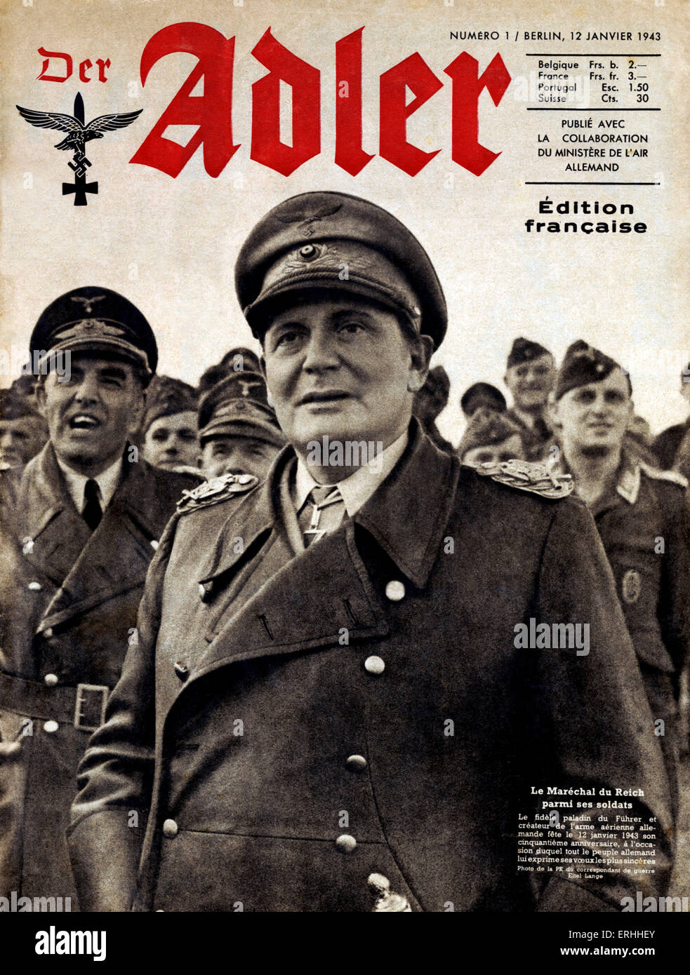 Hermann Göring - portrait of the Nazi Reichmarshall on the cover of Der Adler (French edition) on his fiftieth - Stock Image