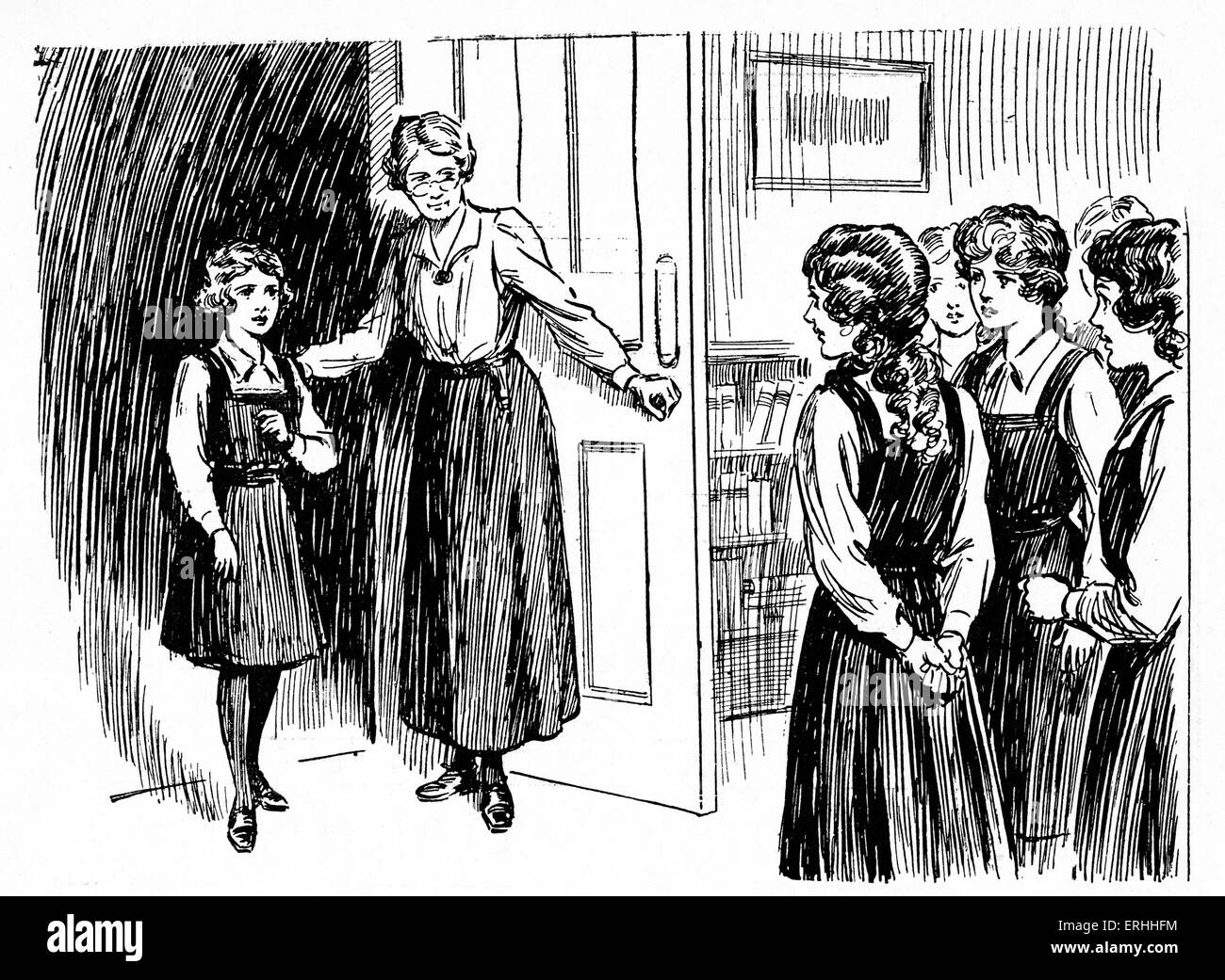 Schoolgirls' story from 1923 - The Mistress introduces a new girl to her classmates in 'The Girl Named Smith: - Stock Image