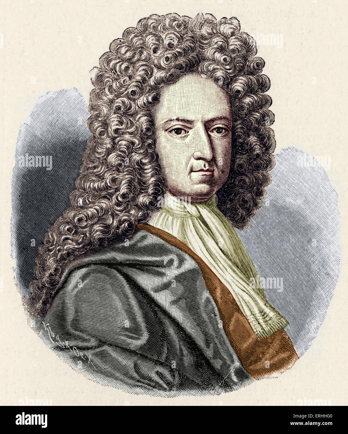 Daniel Defoe - portrait. English author and journalist 1660-1731. Colourised - Stock Image