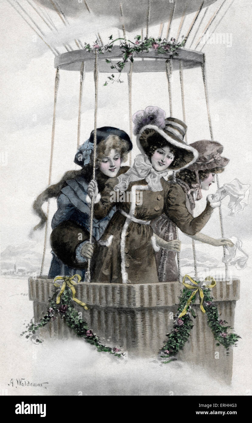 Women riding in a hot air balloon, mid to late 19th century. Waving goodbye with their white handkerchiefs. Wearing - Stock Image