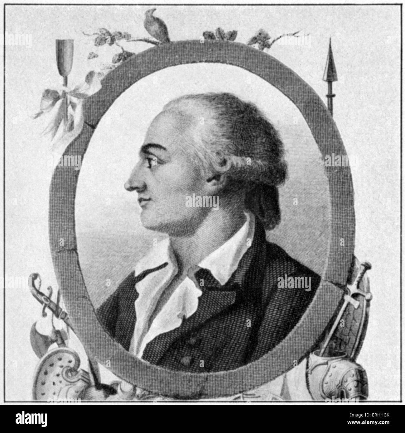 (Jean-Pierre Claris de) Florian - profile portrait of the French author. 6 March 1755 - 12 September 1794.  Engraving - Stock Image
