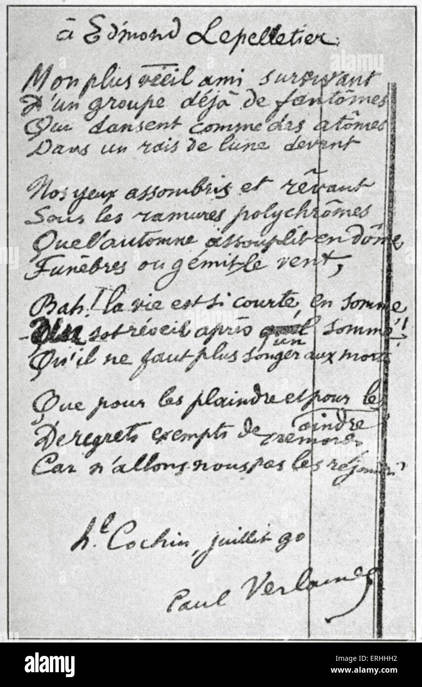 Paul Verlaine  -  handwritten poem dedicated to Edmond Pelletier.  French poet, 1844 - 1896. - Stock Image