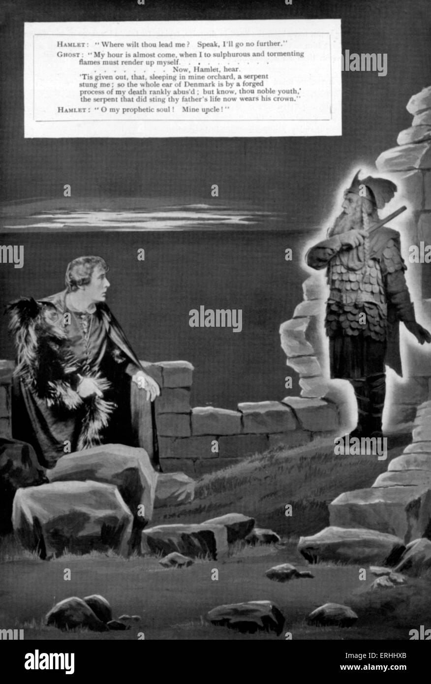 William Shakespeare 's play 'Hamlet' - Act I, scene 5: Hamlet (Henry Brodribb Irving) and the ghost of his father Stock Photo