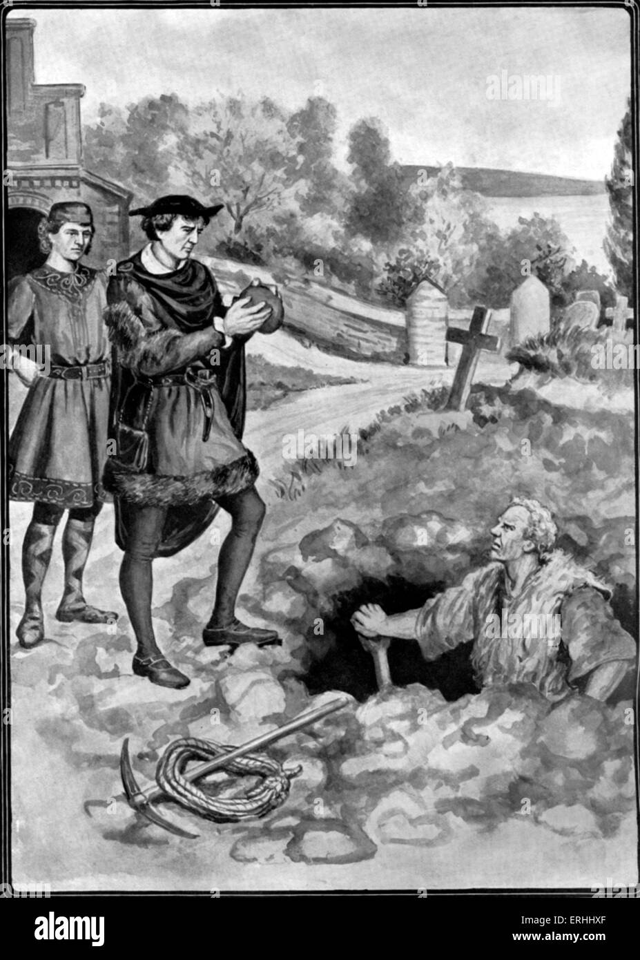 William Shakespeare 's play 'Hamlet' - Act V, scene 1: Hamlet and Horatio by the grave being dug for - Stock Image