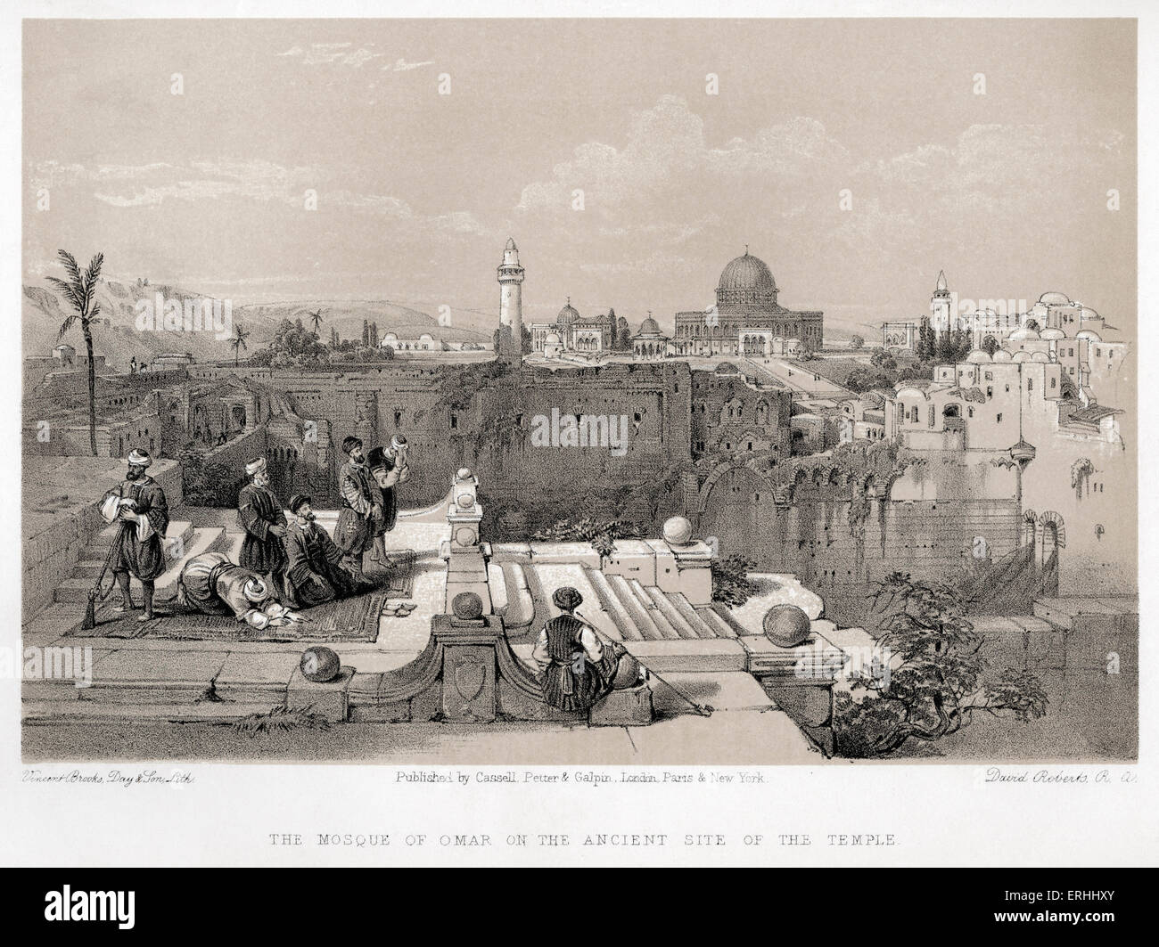 The Mosque of Omar on the ancient site of Solomon's  temple in Jerusalem by David Roberts. Lithographs of the - Stock Image