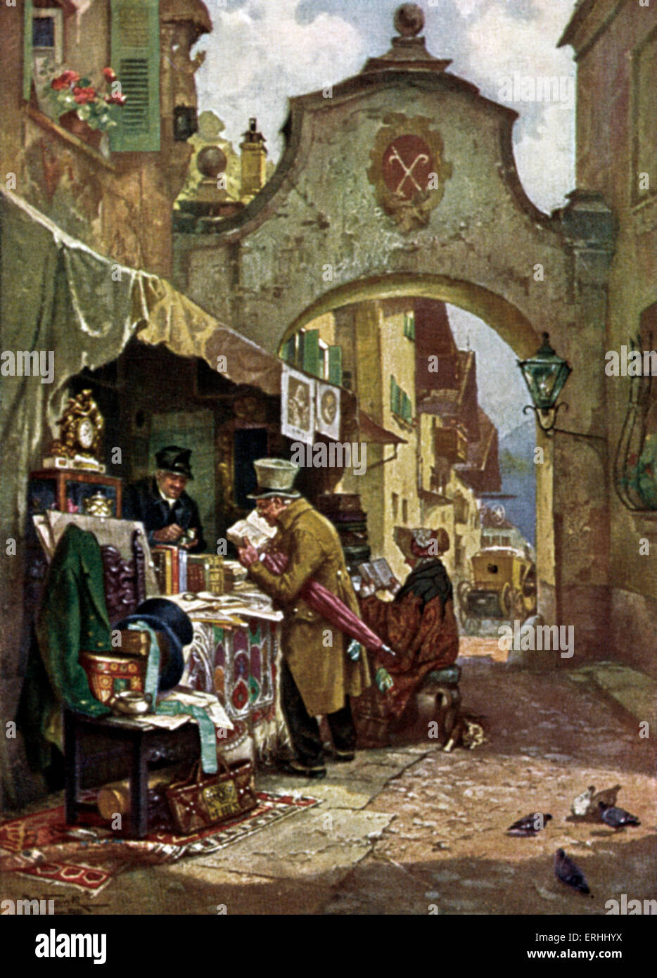 The rare book seller Le bouquiniste. . By Jos. Frank. Typical town street in background. Carriage. Antiques. Central - Stock Image