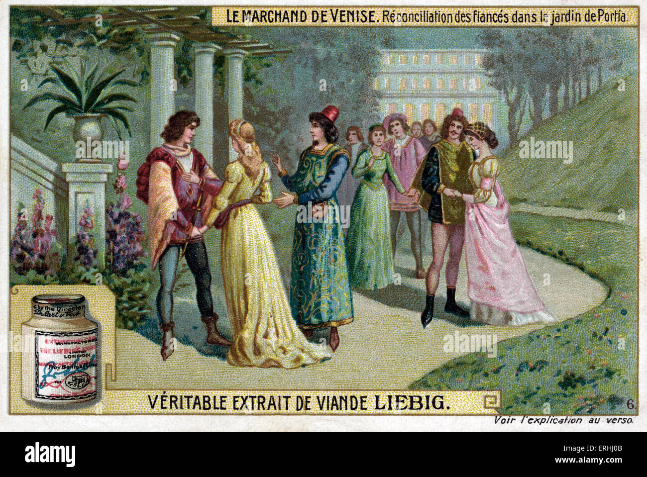 William Shakespeare 's play The Merchant of Venice - Reconcilliation of the fiances in Portia's garden. - Stock Image