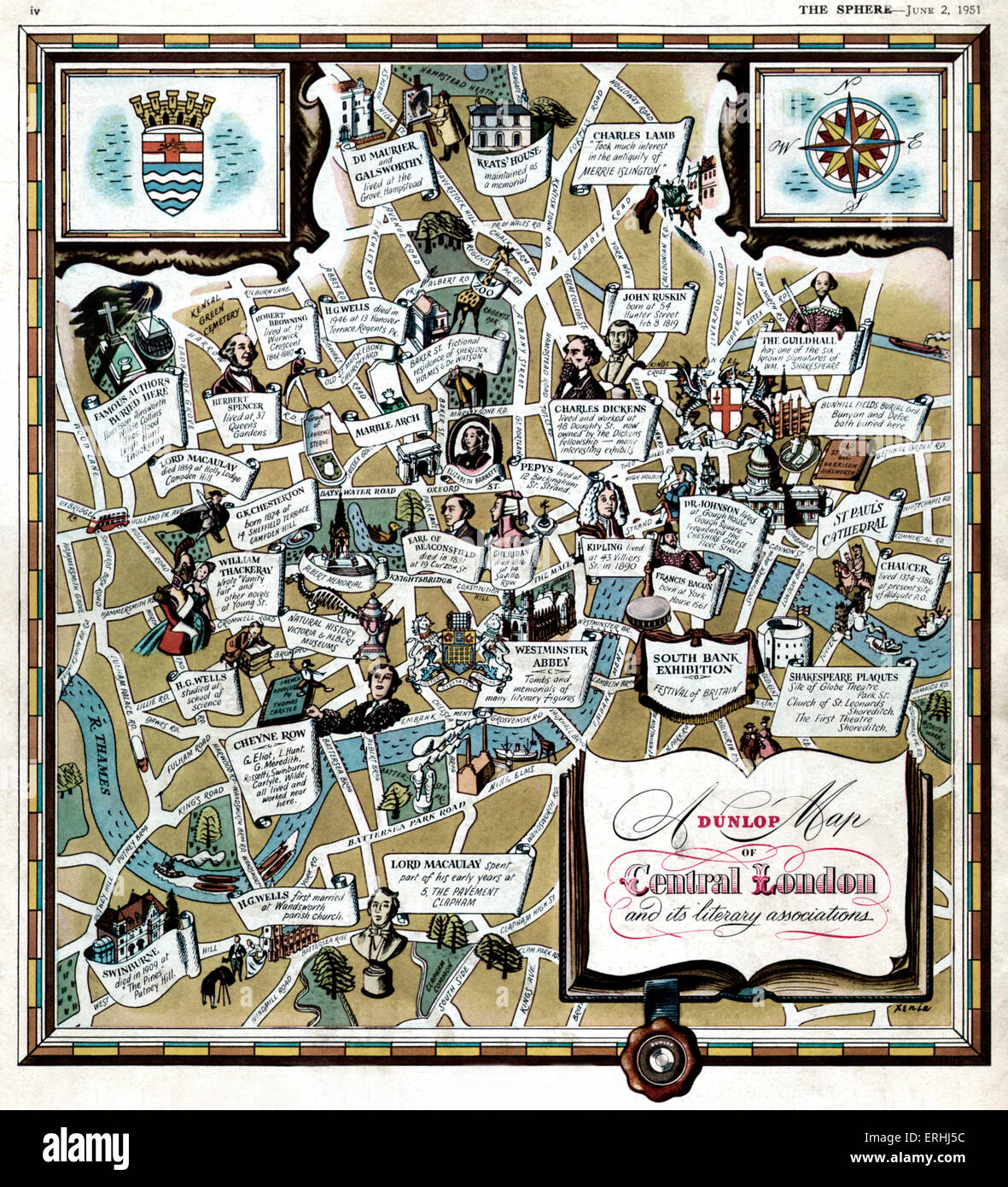 Central London  and its literary associations. Illustrated map  shows where famous writers and authors lived and - Stock Image