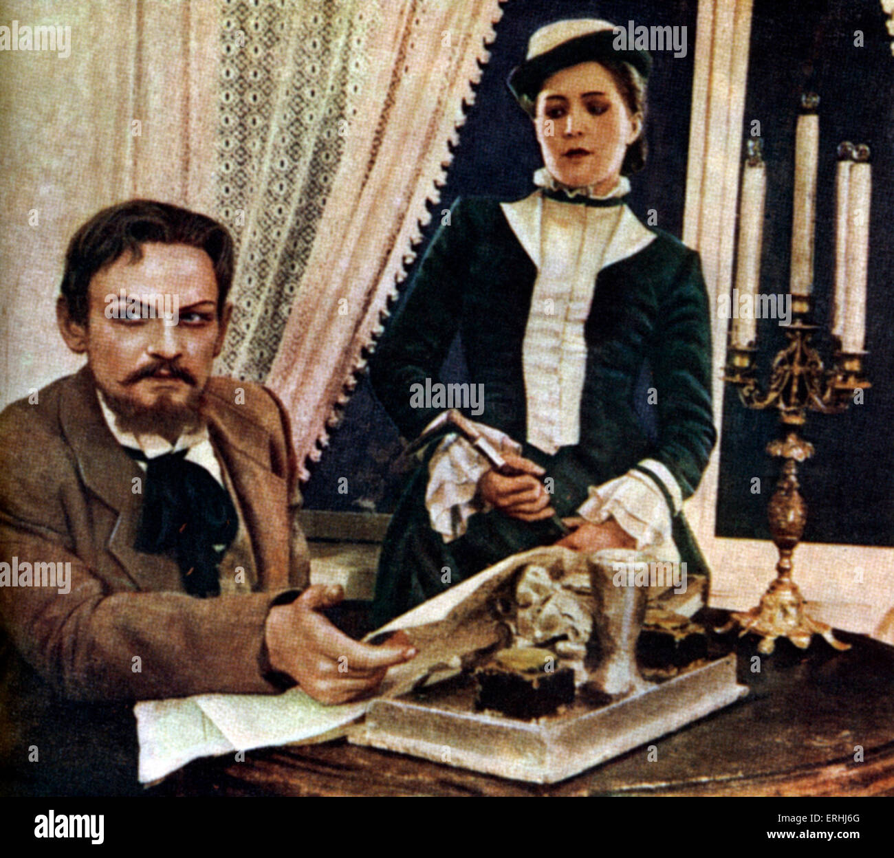 Anton Chekhov 's play 'Ivanov' (1887), with C. Lavrov and Sasha K. Tuzova. Illustration from the Russian - Stock Image