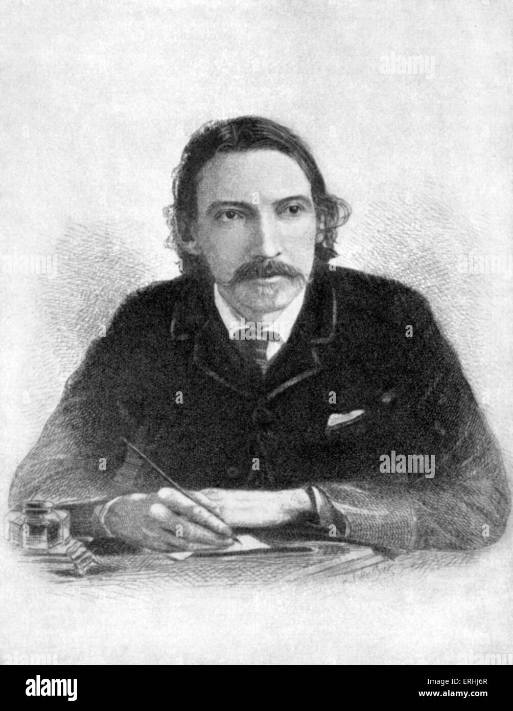 Robert Louis Stevenson - From etching by S. Hollyer  Scottish writer 13 November 1850 - 3 December 1894. - Stock Image
