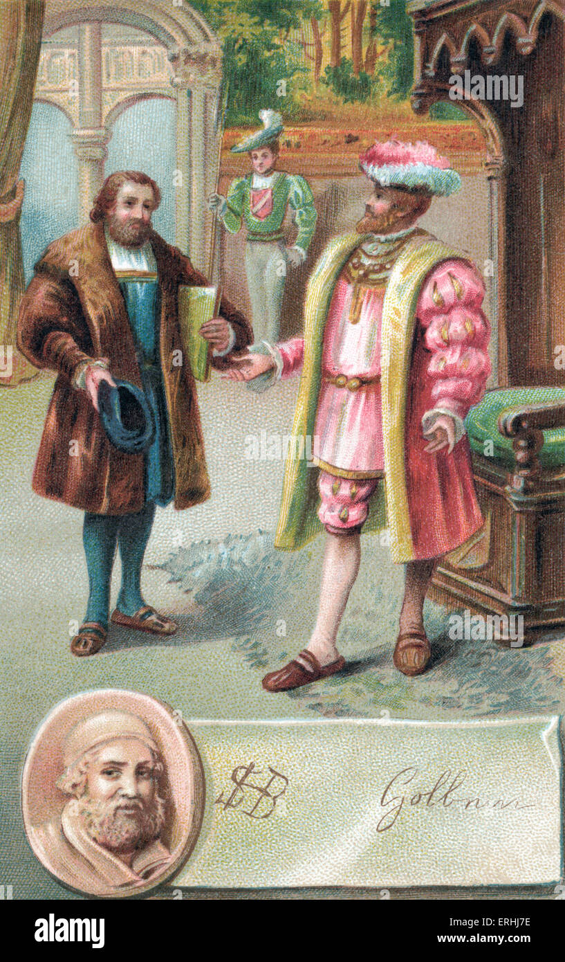 Hans Holbein the Younger with King Henry VIII. - signed portait of the German Renaissance artist c. 1497 - 1543 - Stock Image
