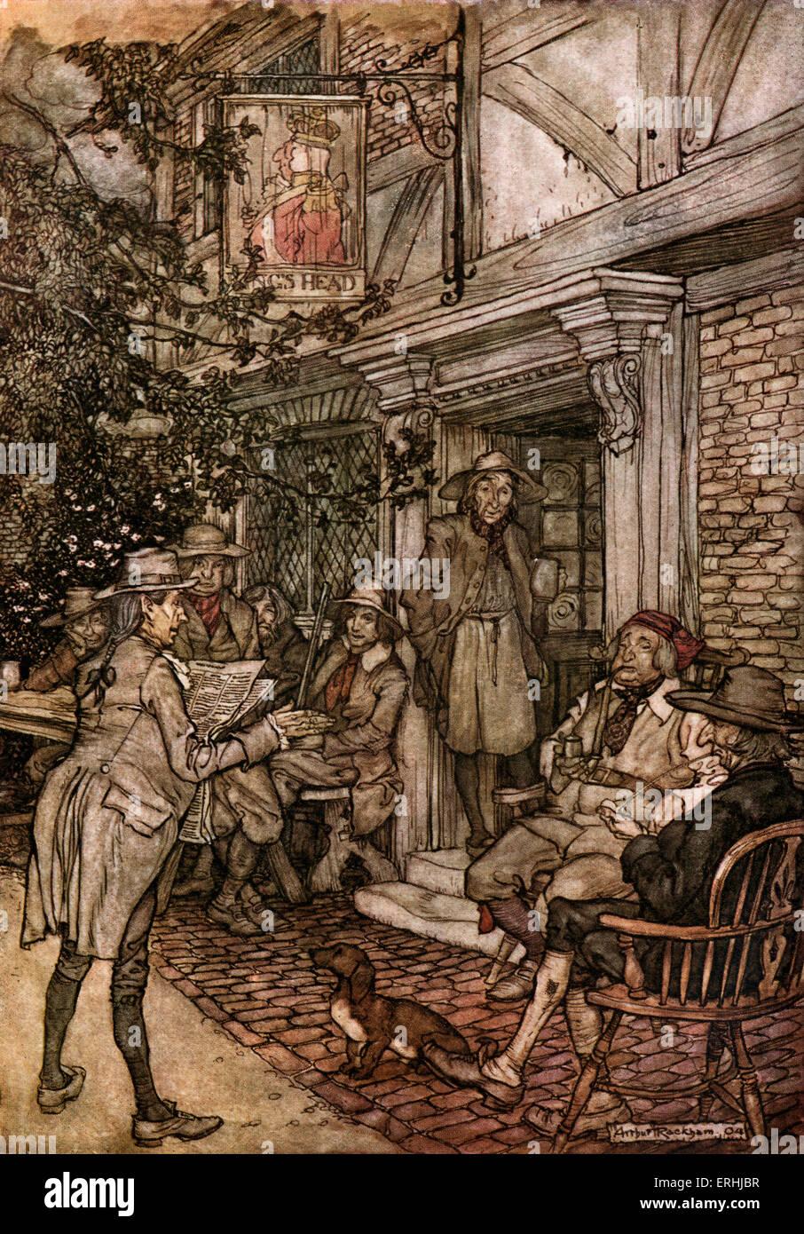 Washington Irving 's short story 'Rip van Winkle' - Illustration by Arthur Rackham, 1904. 'He used - Stock Image