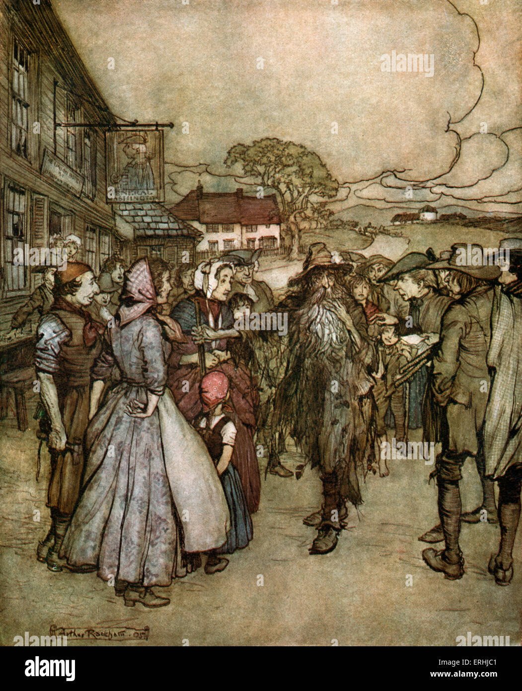 Washington Irving 's short story 'Rip van Winkle' - Illustration by Arthur Rackham, 1904. 'They - Stock Image