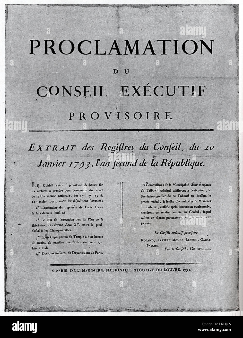 Louis XVI, King of France - Placard of order for his execution. 23 August 1754 - 21 January 1793. His excecution - Stock Image