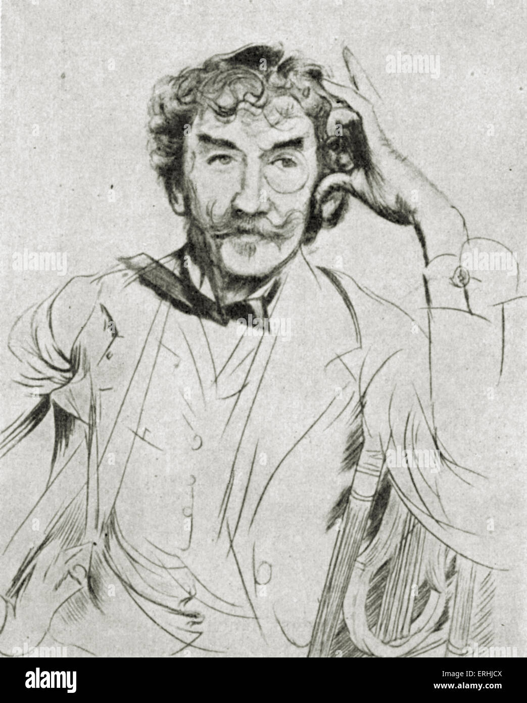 James Abbott McNeill Whistler - portrait of the American artist. 14 July 1834 – 17 July 1903 - Stock Image
