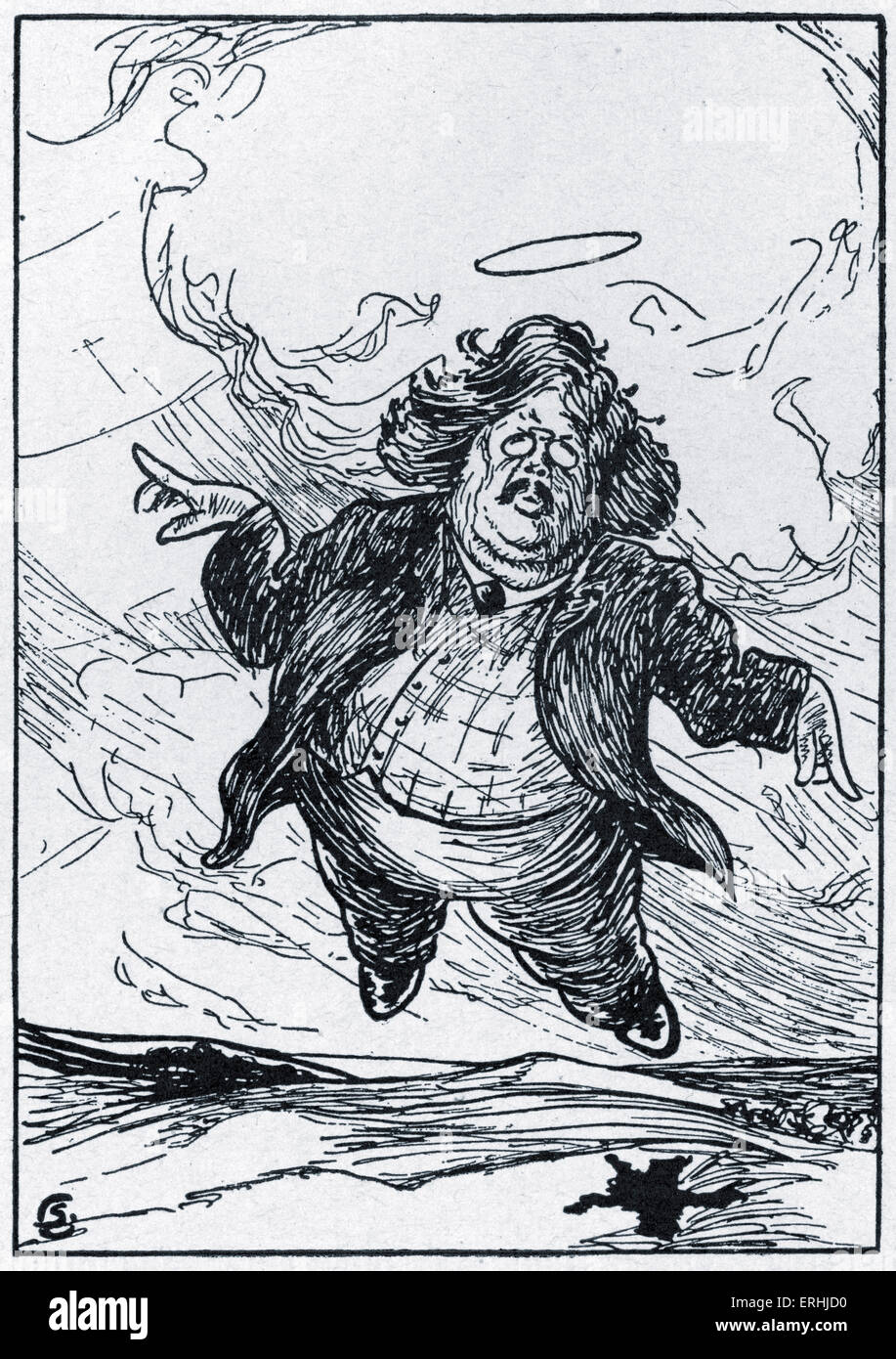 Gilbert Keith Chesterton - caricature of the English writer by G. Kohen, 1912. 29 May 1874 - 14 June 1936. - Stock Image