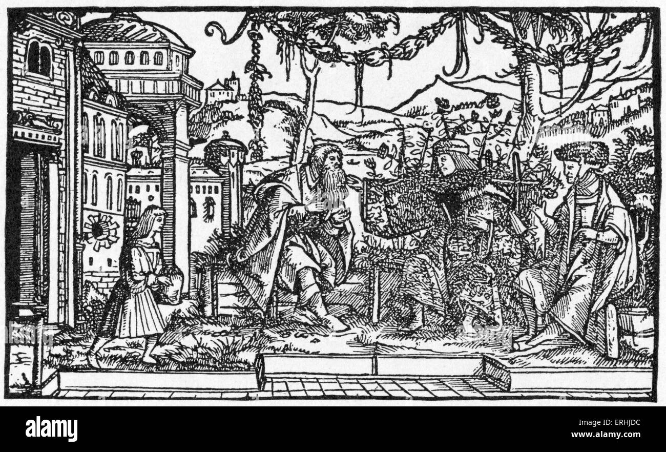 Thomas More - Illustration for the English humanist scholar, writer and politician's book, 'Utopia'. - Stock Image