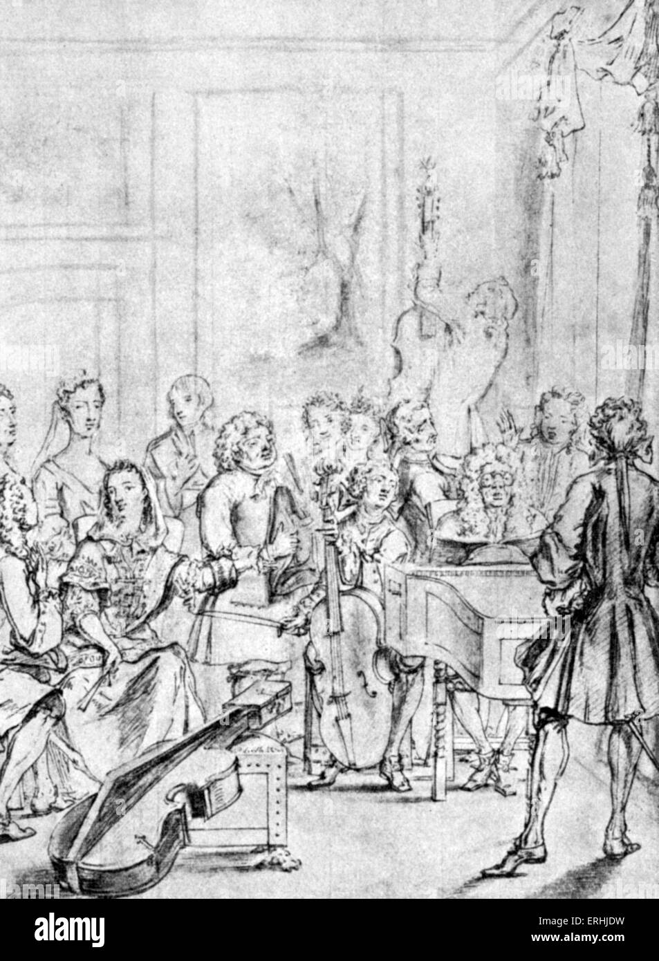 Music recital in the home of a nobleman. Drawing by Marcellus Lason, 1736. - Stock Image