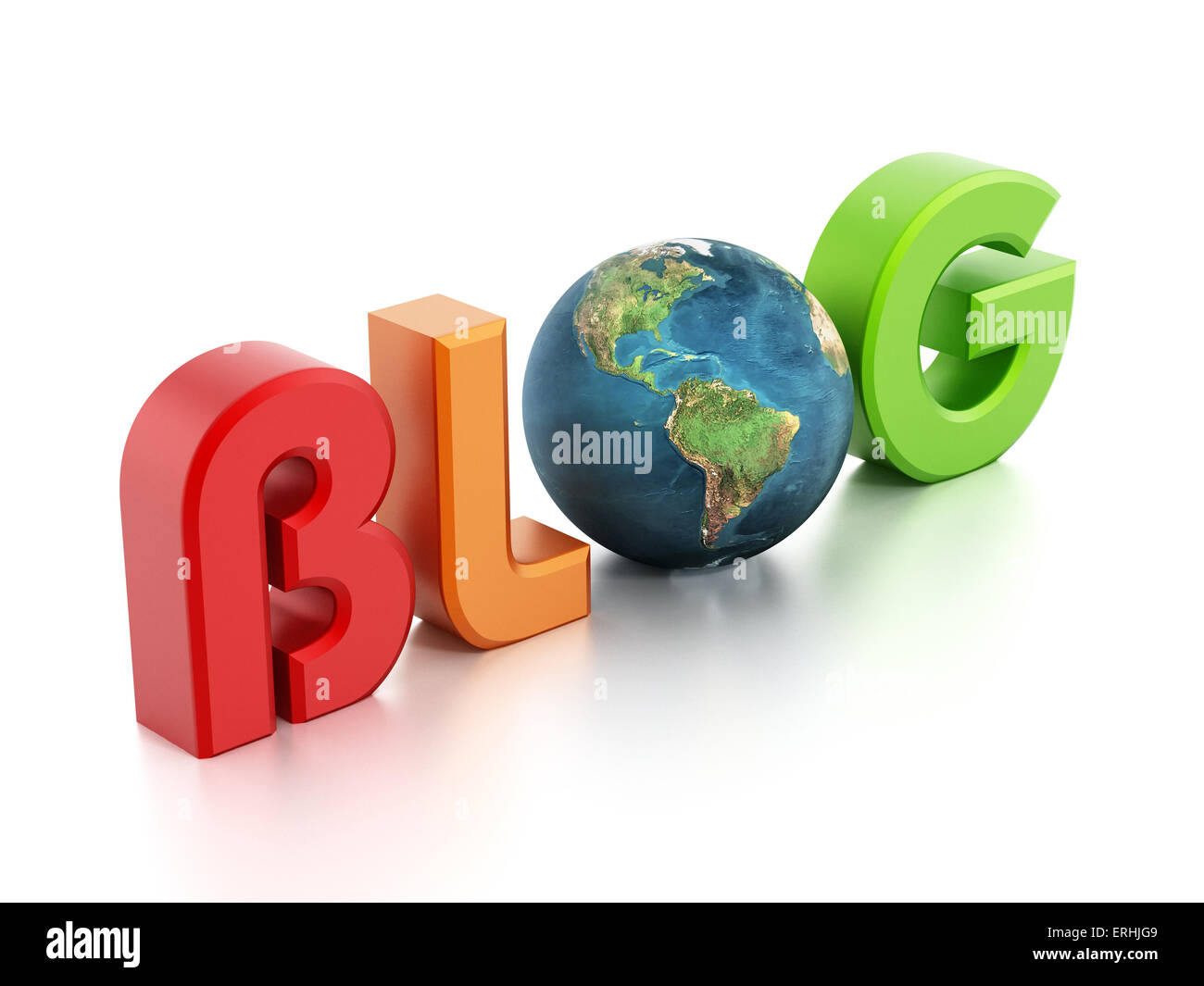 Blog text with earth - Stock Image