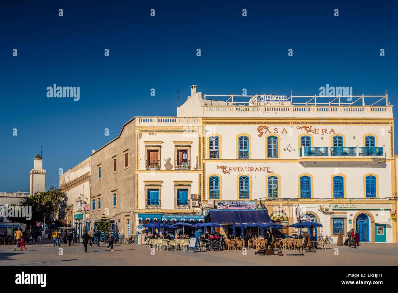Essaouira, Morocco - 30 March 2015: typical street of Essaouira with cafèè and restaurants. Essaouira - Stock Image