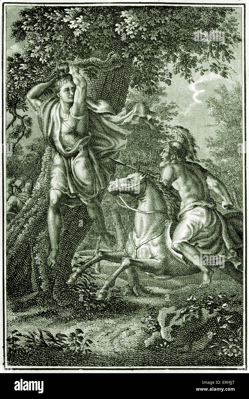 Absalom being killed by Joab / Yoav the General of King David's army - Bible Story. Death of Absalom. Samuel - Stock Image