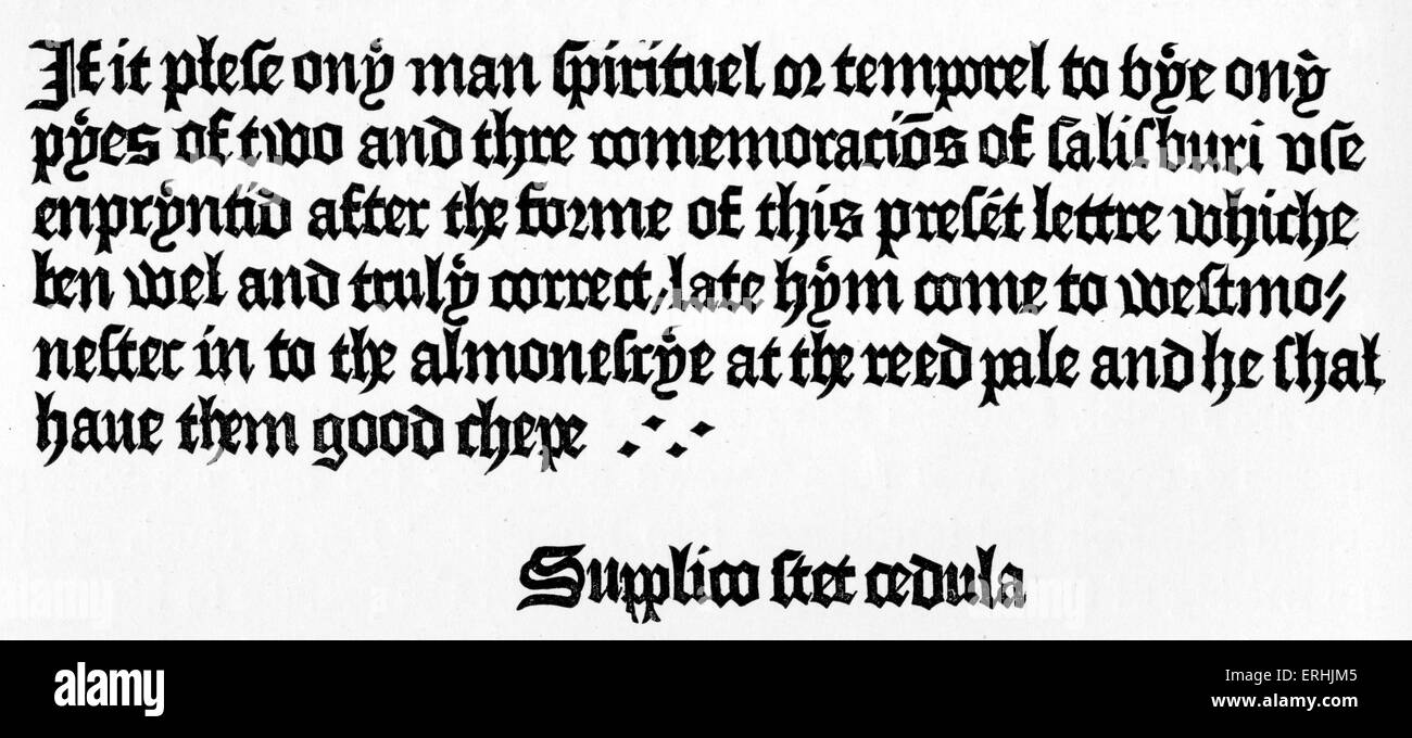 William Caxton's Advertisement at Westminster - first English printer, Early printing. C 1422 - 1491. Printing. - Stock Image
