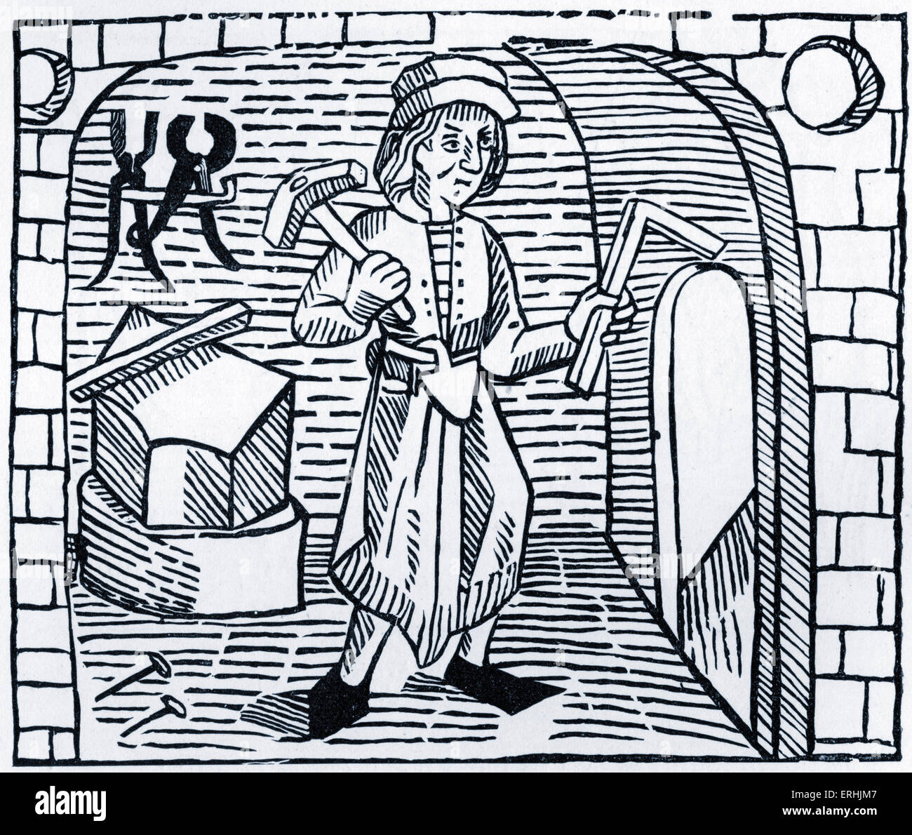 Blacksmith with a hammer and anvil.  From Caxton's 'The Game and Playe of the Chesse, c. 1483. Stock Photo