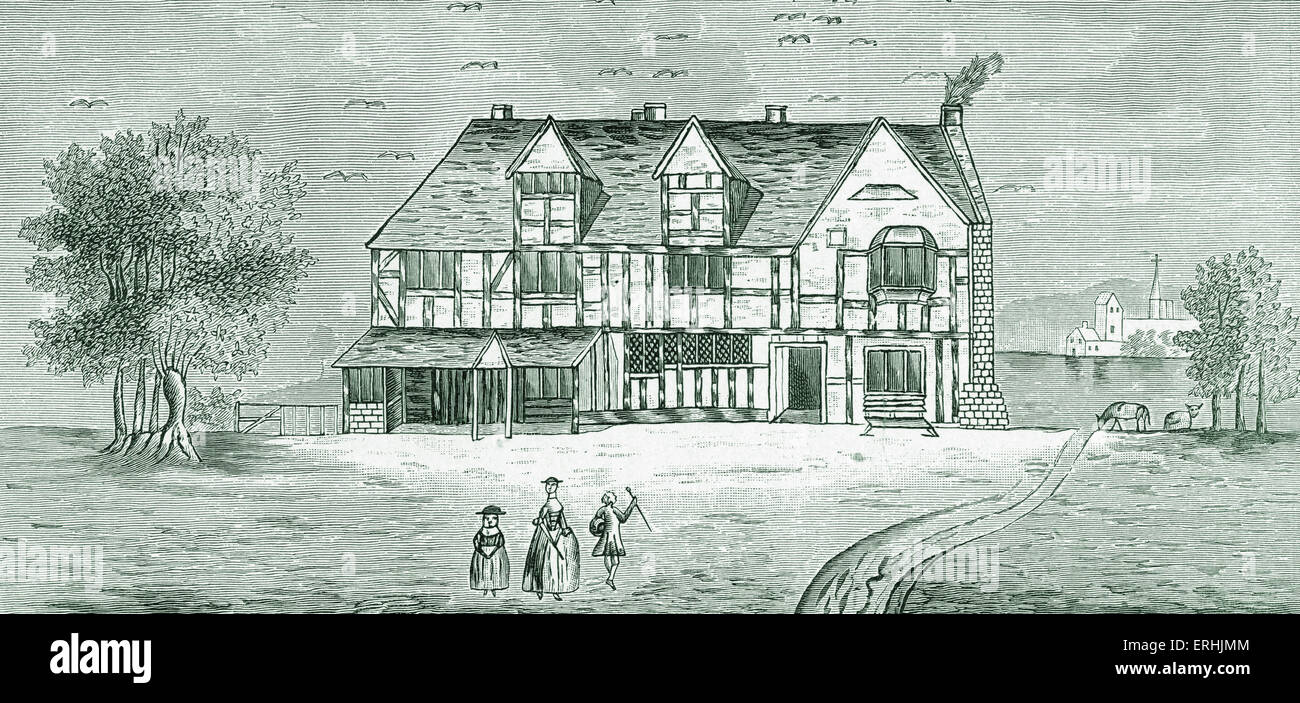 Shakespeare 's house, Stratford-on-Avon Old drawing in British Museum. English playwright -April 26, 1564 – - Stock Image