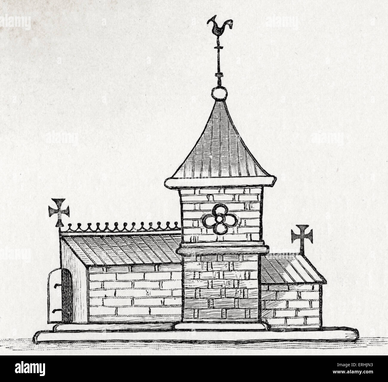 Church in London for converted Jews. Built by Henry III. Drawn by Matthew Paris. - Stock Image