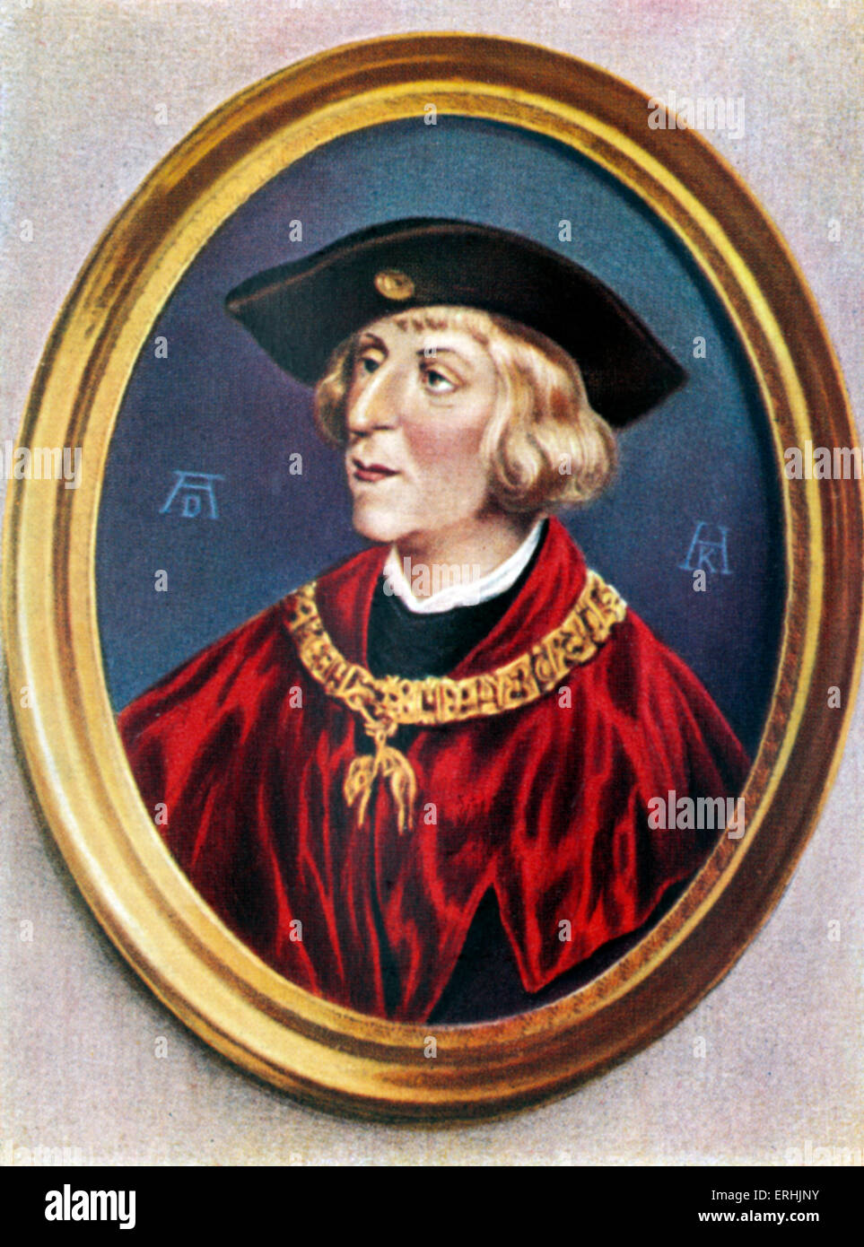 Maximilian I of Habsburg. Portrait of the Kaiser. Holy Roman Emperor. After a portrait by Albrecht Durer. 22 March - Stock Image