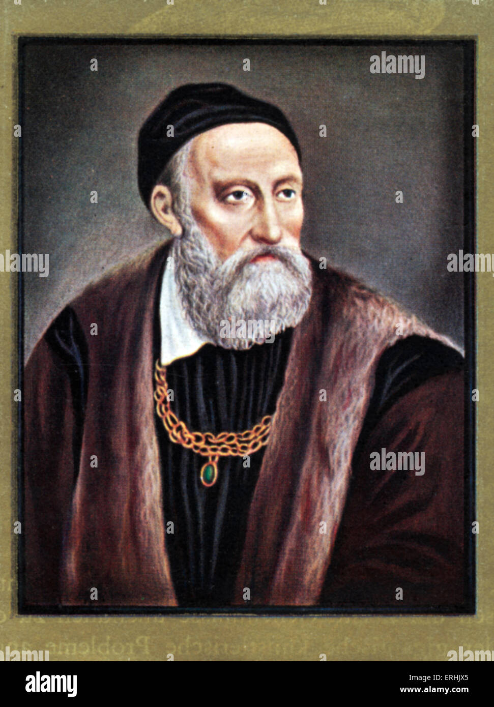 Tiziano Vecelli or Vecellio. Portrait of the Italian painter. Better known as Titian. c. 1488-90 – August 27, 1576 - Stock Image