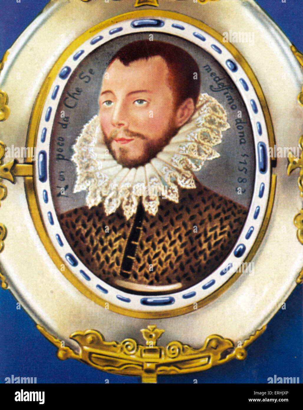 Phillip II, King of Spain. Portrait. After a minature by Isaac Oliver. He was King of Spain from 1556- 1598, King - Stock Image