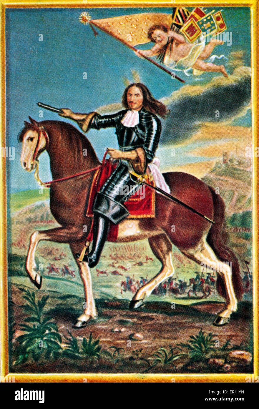 Henri de la Tour d'Auvergne, Vicomte de Turenne. Portrait of the Marshal of France. After a miniature by Pierre - Stock Image