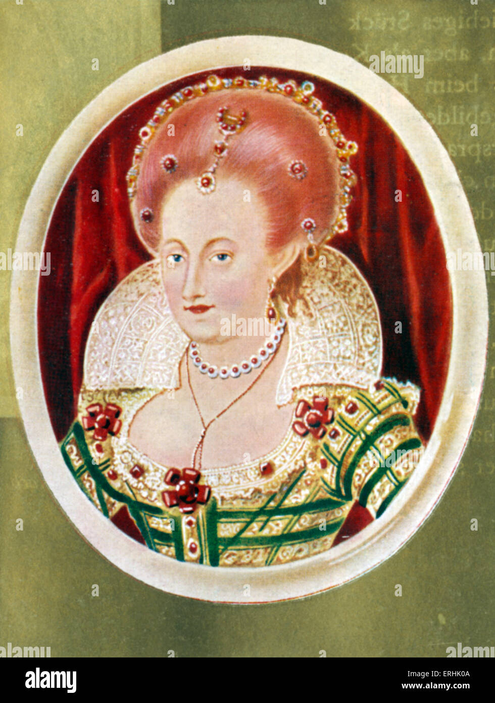 Anne of Denmark. Potrait of the queen consort of King James I of England and VI of Scotland. 14 October 1574 –  - Stock Image