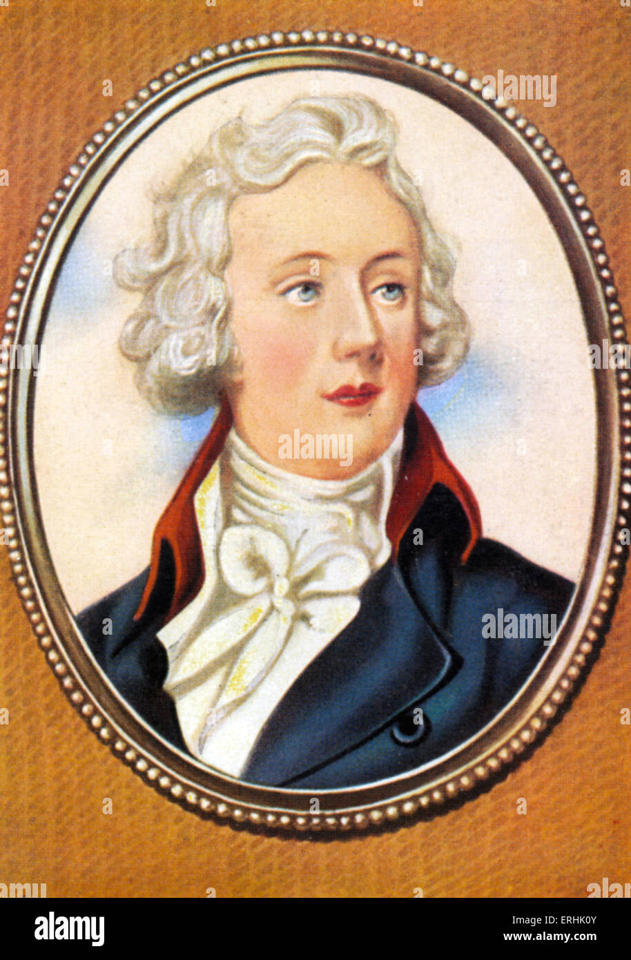 William Pitt the Younger. Portrait of the British Prime Minister. After a miniature by Horace Hone. 28 May 1759–23 - Stock Image