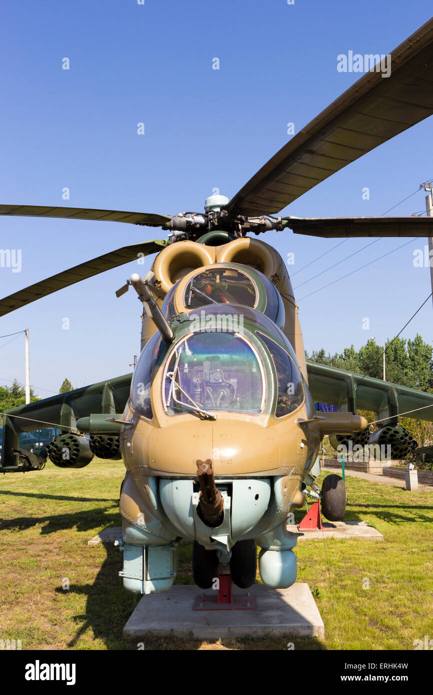 Military helicopter parked  on the ground in Hungary - Stock Image