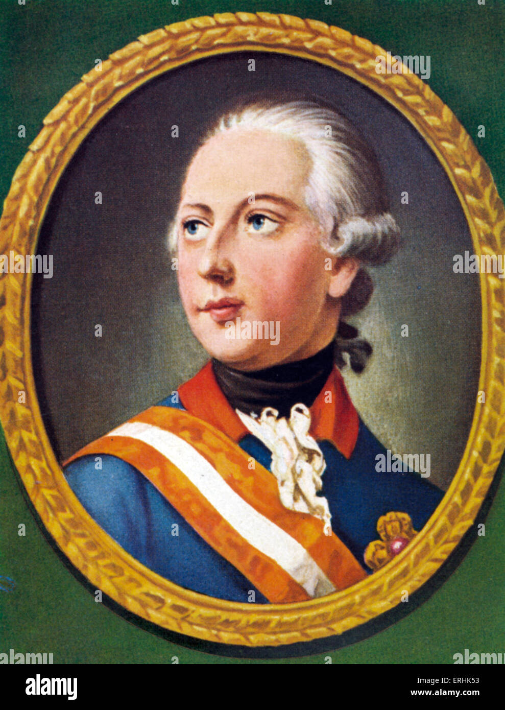 Joseph II. Portrait of the German Kaiser (Holy Roman Emperor). After a miniature by Heinrich Friedrich Fuger, 1776. Stock Photo