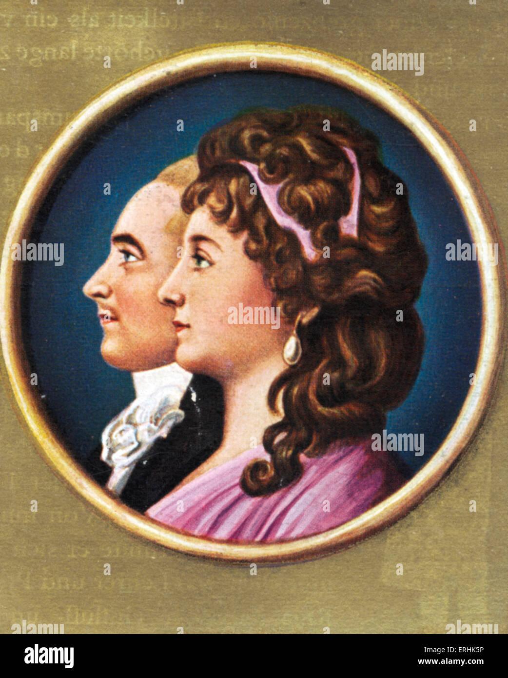 Lili Schonemann and her husband. Portrait. She was the estranged lover of German writer Johann Wolfgang von Goethe. - Stock Image