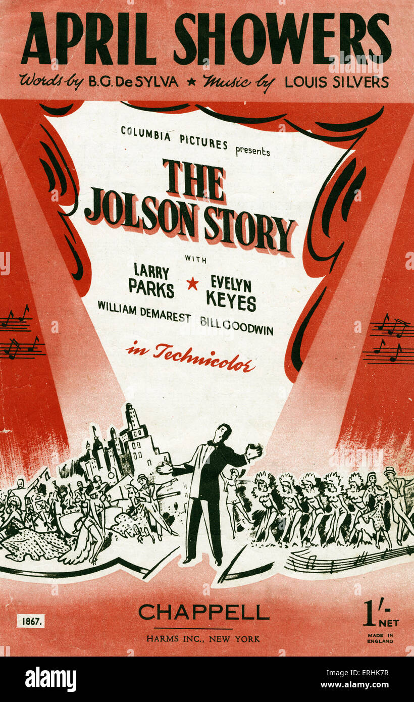 The Jolson Story, 1921. Cover page of music score for 'April Showers'. Song from the film about Al Jolson. - Stock Image