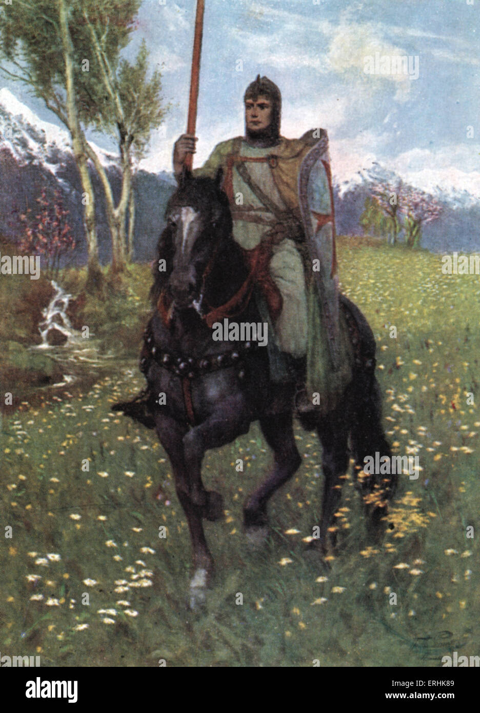 Richard Wagner 's 'Parsifal' - the Knight on horseback in an outdoors setting. - Stock Image
