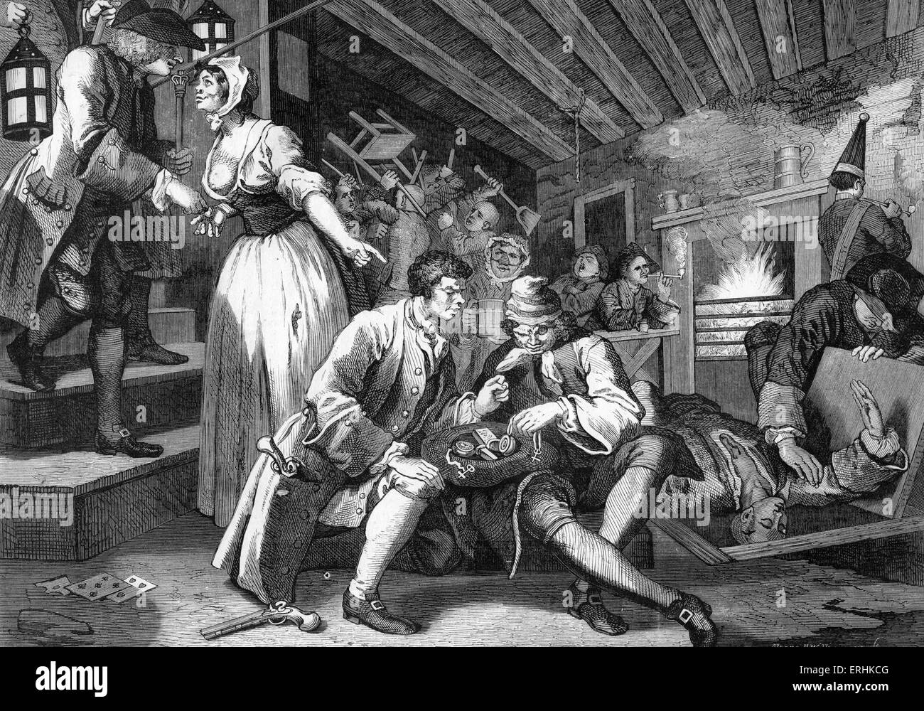 The Thieves Den by William Hogarth - printed by A H Payne. Engraving from moral series  'Industry and Idleness' - Stock Image