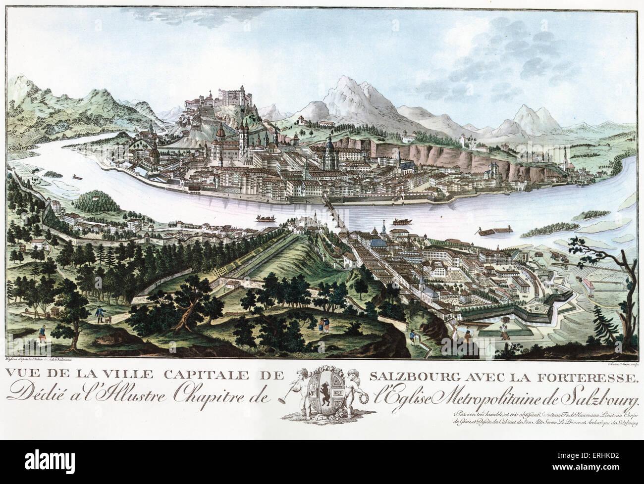 Salzburg and the Fortress .  Vue de la Ville Capitale de Salzbourg avec la Forteresse by Anton Amon after August - Stock Image