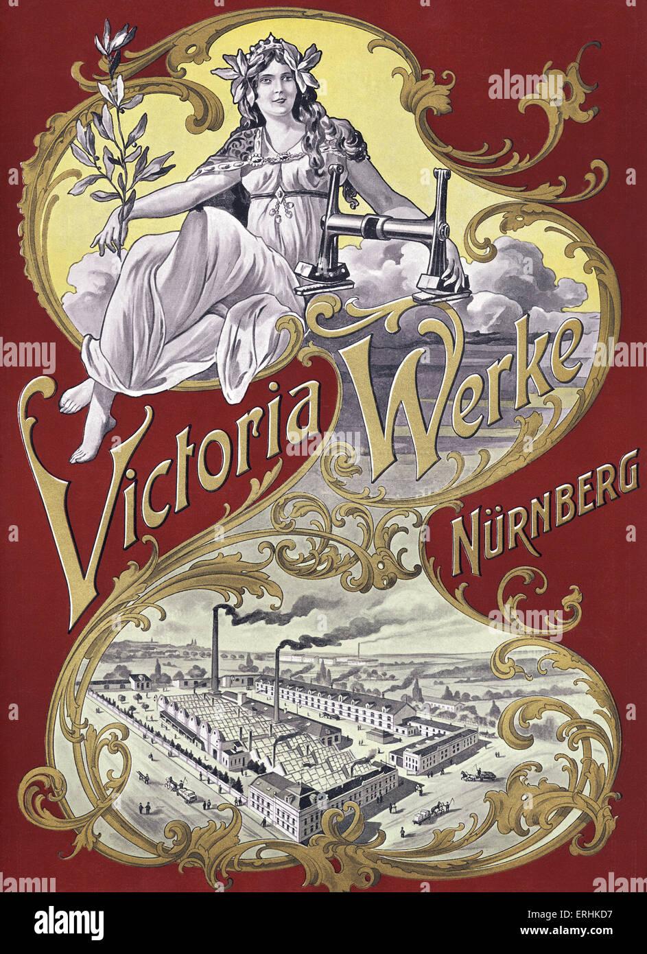 Victoria Werke printing works advertisement - from 1902 catalogue. Printing works in Nuremburg.  Advert shows factory - Stock Image