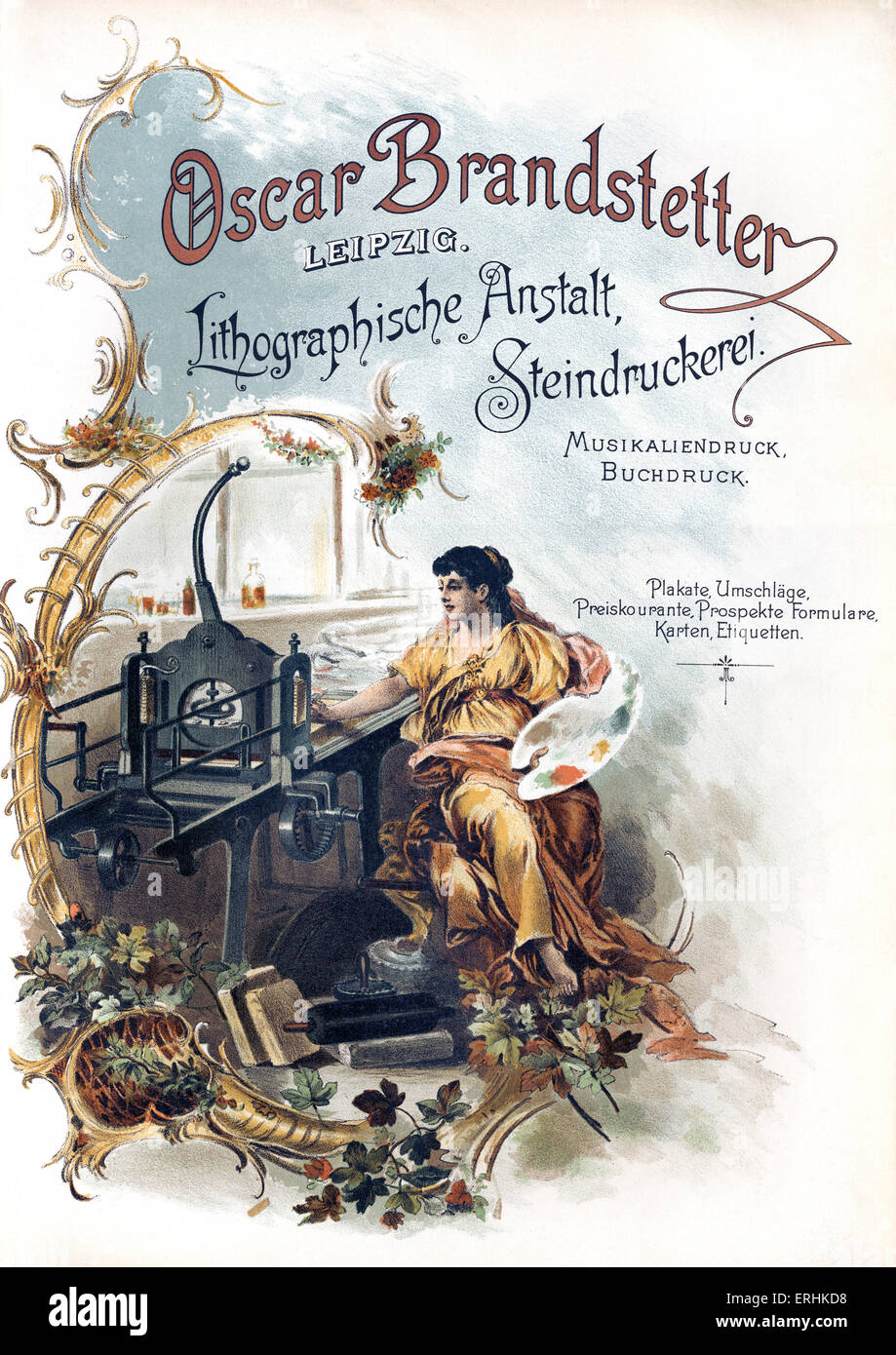 Oscar Branstetter printing works advertisement - from 1902 catalogue. Printing works in Leipzig. Advert shows factory - Stock Image