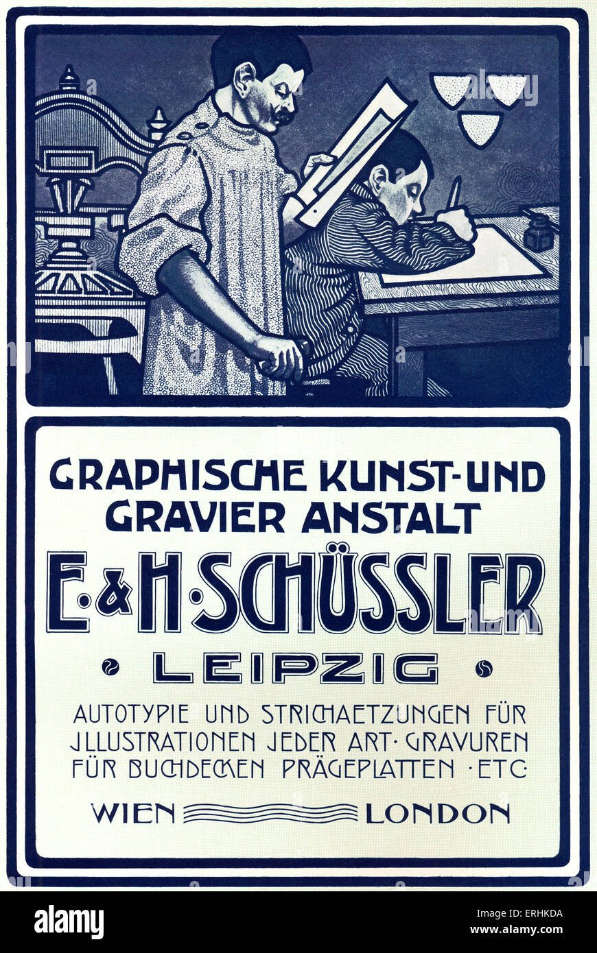 Graphic Art and typesetting firm  advertisement from 1902  printers ' catalogue. Graphische kunst und gravier - Stock Image