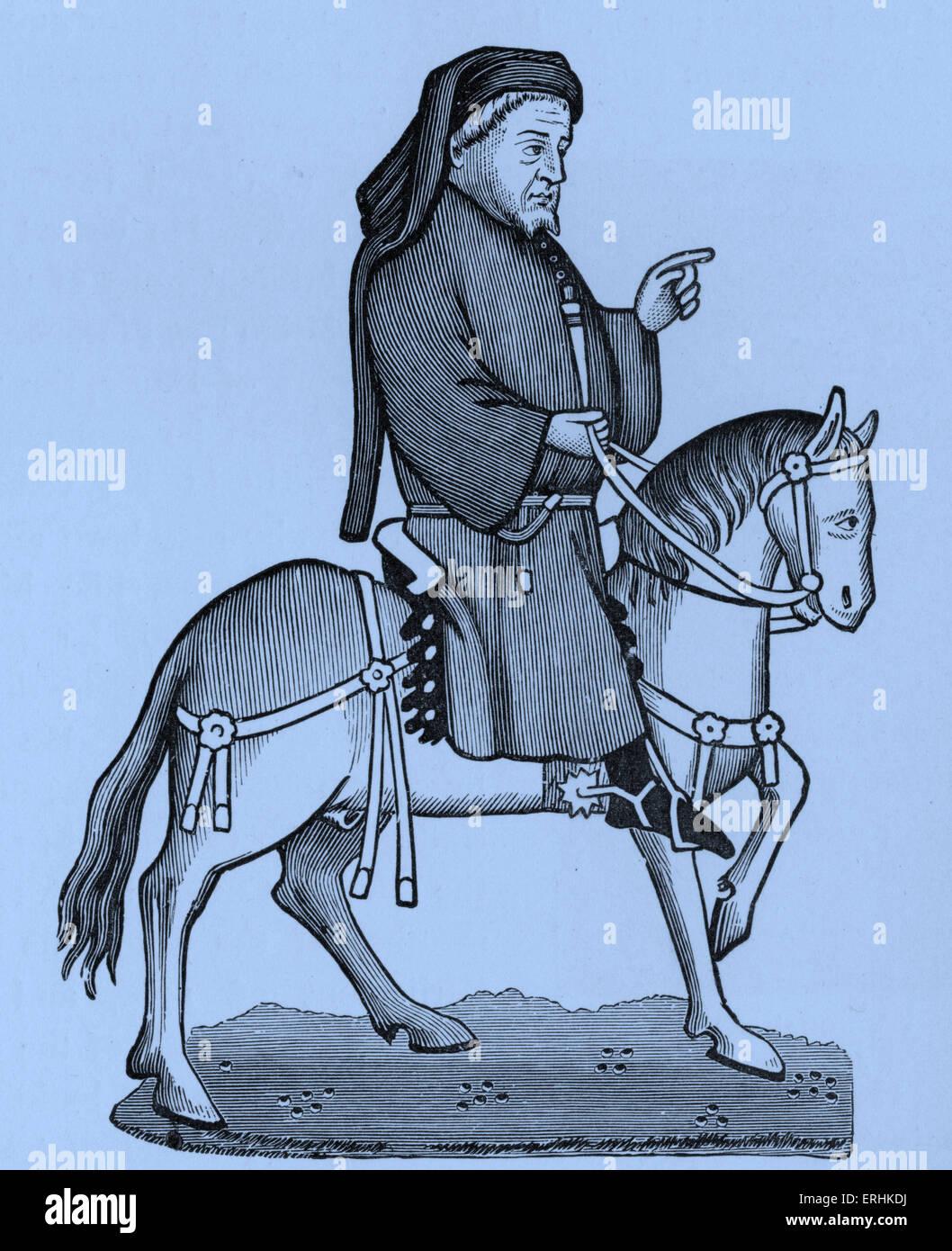 Geoffrey Chaucer - Portrait of the English poet on horseback. c. 1343-1400 - Stock Image