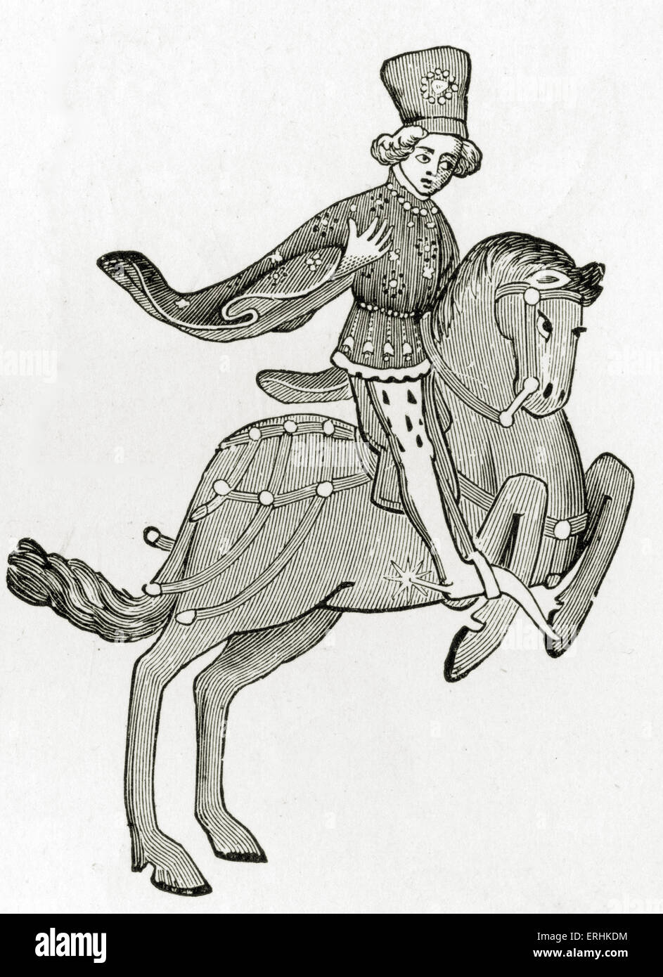 Geoffrey Chaucer ' s Canterbury Tales - The Squire on horseback. English poet, c. 1343-1400. Ellesmere manuscript - Stock Image